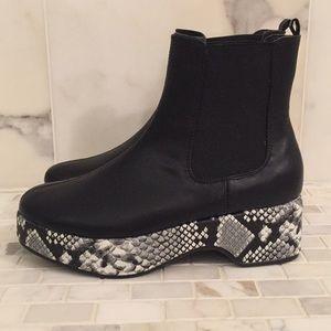 UO Eva Snakeskin Platform Chelsea Boot
